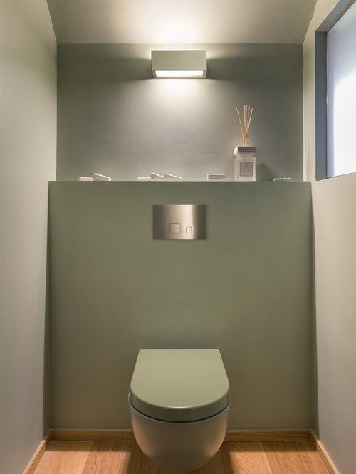 Green Powder Room Design Ideas, Remodels & Photos with Light Hardwood Floors