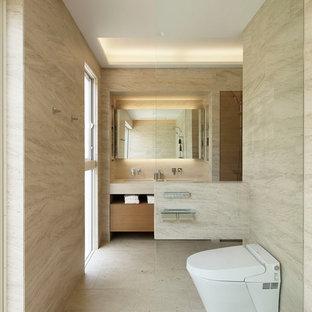 東京都下のコンテンポラリースタイルのおしゃれなトイレ・洗面所の写真