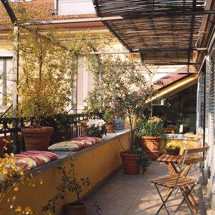 Esempio di un piccolo balcone country con un giardino in vaso e un parasole