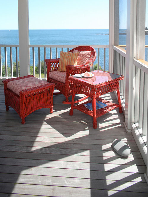 Mid Sized Elegant Balcony Photo In Portland Maine With A Roof Extension