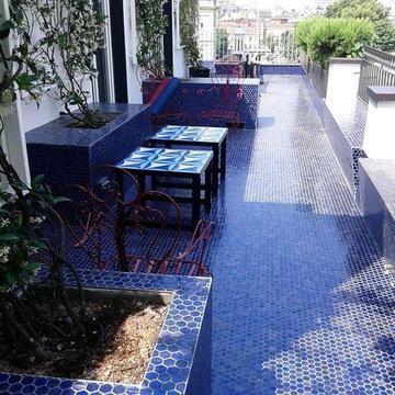 Contemporary blue mosaic balcony
