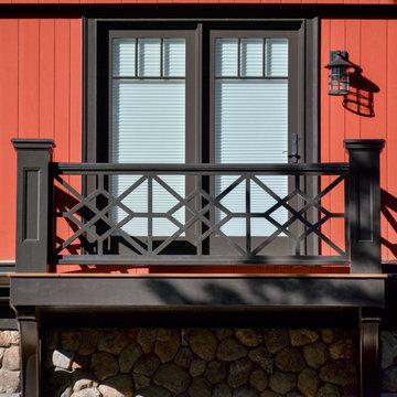 "Detail of bedroom balcony in ""Vermont barn"" wing"