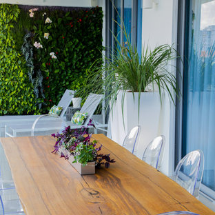 Inspiration for a mid-sized modern glass railing vertical balcony garden remodel in Miami with a roof extension