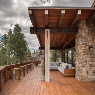 Inspiration for a large rustic terrace and balcony in Phoenix.