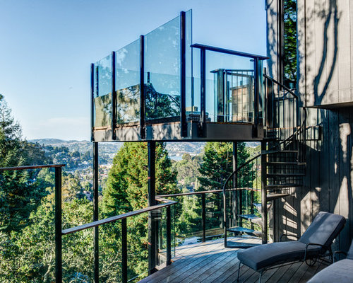 Example Of A Trendy Glass Railing Balcony Design In San Francisco