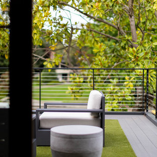 Design ideas for a large contemporary wire cable railing terrace and balcony in Seattle with no cover.
