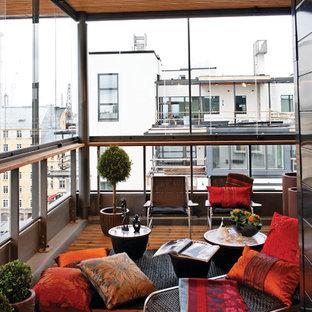 Inredning av en modern balkong, med takförlängning