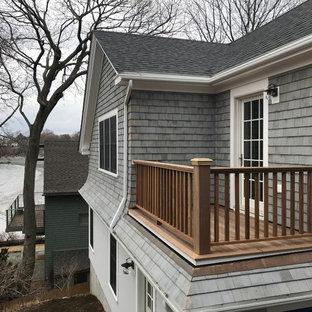 Balcony - mid-sized coastal wood railing balcony idea in Boston with no cover