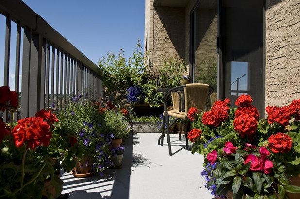 Traditional Balcony Small Gardens