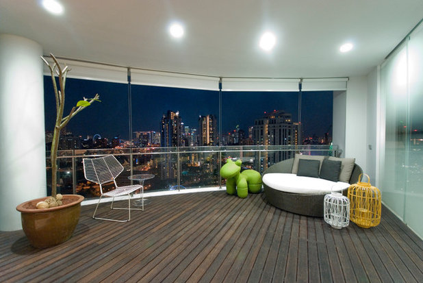 Contemporary Balcony by TOPOS Design Studio Pte Ltd