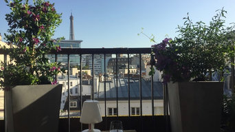 Aménagement paysager d'un balcon filant à Paris...