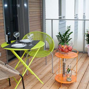 Exemple d'une petite terrasse et balcon tendance avec aucune couverture.