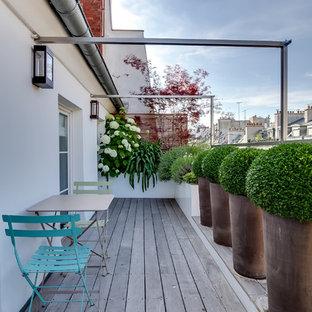 Idée de décoration pour une terrasse avec des plantes en pots design avec aucune couverture.
