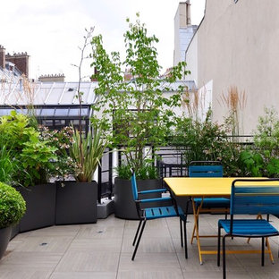 This is an example of a contemporary balcony in Paris with a container garden and no cover.