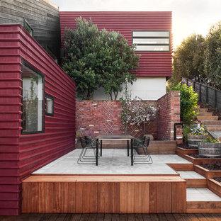Esempio di terrazze e balconi contemporanei di medie dimensioni con un giardino in vaso e nessuna copertura