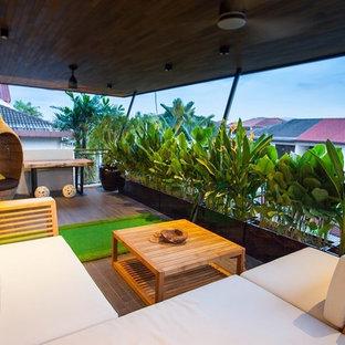 Kolonialstil Balkon mit Sichtschutz in Singapur