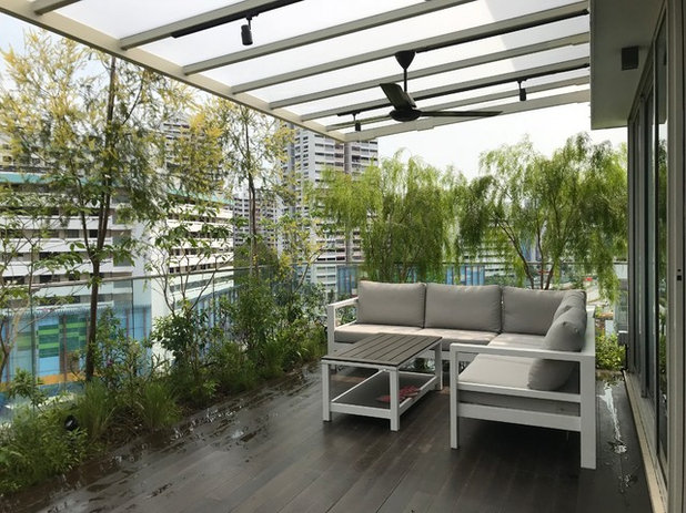 Contemporary Balcony by Passionscape Pte Ltd | Greentech materials Pte Ltd