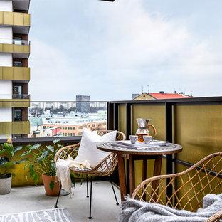Idéer för att renovera en mellanstor skandinavisk balkong