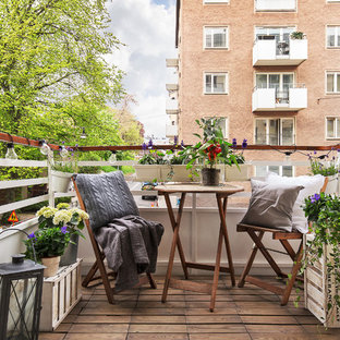 Photo of a medium sized scandi terrace and balcony in Stockholm.