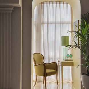 Идея дизайна: маленький балкон и лоджия в современном стиле в квартире