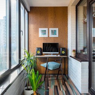 Выдающиеся фото от архитекторов и дизайнеров интерьера: большой балкон и лоджия в стиле фьюжн