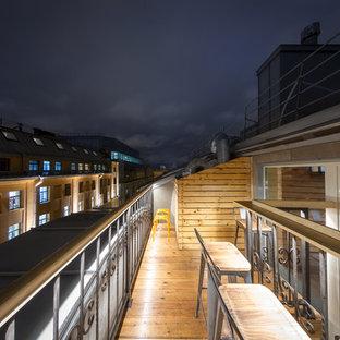 Новые идеи обустройства дома: балкон и лоджия среднего размера в стиле лофт без защиты от солнца