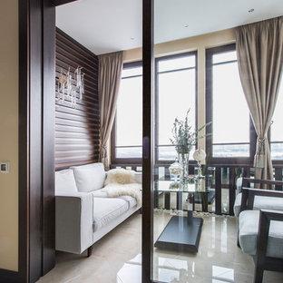 Esempio di terrazze e balconi minimal di medie dimensioni con nessuna copertura e parapetto in legno