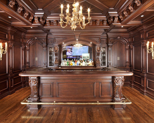 Traditional Home Bar Design Ideas, Remodels & Photos with Brown Cabinets