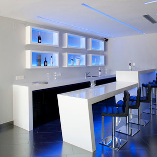 Seated Home Bar   Modern Galley Seated Home Bar Idea In Alicante Costa  Blanca With