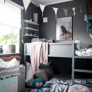 Idéer för att renovera ett skandinaviskt könsneutralt barnrum kombinerat med sovrum och för 4-10-åringar, med grå väggar