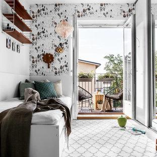 Idéer för mellanstora minimalistiska könsneutrala barnrum kombinerat med sovrum och för 4-10-åringar, med flerfärgade väggar