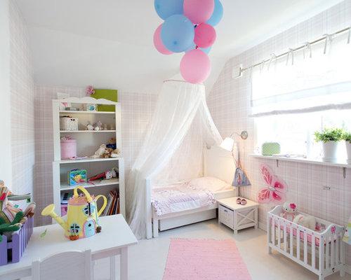 Foton och inredningsidéer för baby- och barnrum, med rosa väggar