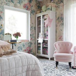 Kids' room - shabby-chic style girl multicolored floor kids' room idea in Stockholm with multicolored walls