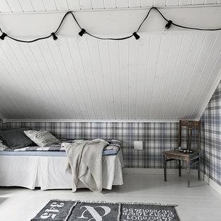 Bild på ett litet maritimt pojkrum kombinerat med sovrum