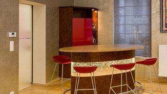 Aménagement séjour et conception d'un meuble comptoir bar