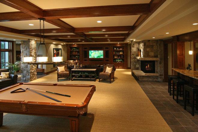 Traditional Basement by Charles Cudd De Novo, LLC