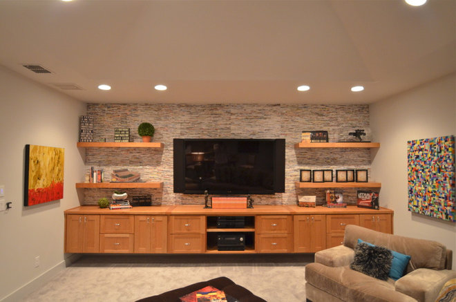 Contemporary Basement by Kyle Lindsey Custom Homes