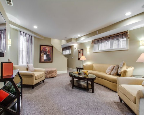 Charming Example Of A Transitional Look Out Basement Design In Chicago With Beige  Walls, Carpet Photo Gallery
