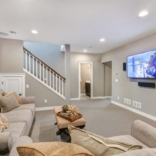 basement interior design ideas. Example Of A Mid-sized Transitional Underground Carpeted And Beige Floor Basement  Design In Minneapolis Interior Ideas .