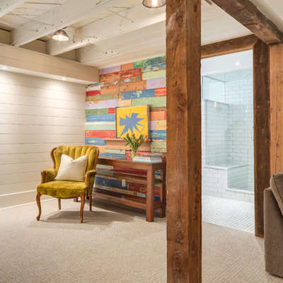 Mid-sized eclectic underground carpeted basement photo in Calgary with multicolored walls