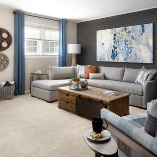 Inspiration pour un grand sous-sol minimaliste semi-enterré avec un mur gris, moquette, un poêle à bois, un manteau de cheminée en brique et un sol beige.