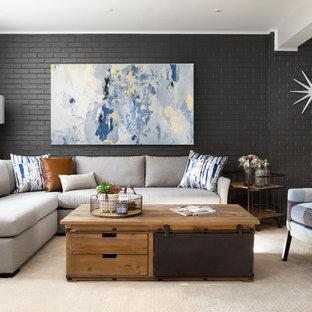 Diseño de sótano con ventanas minimalista, grande, con moqueta, marco de chimenea de ladrillo, suelo beige, paredes beige y chimenea tradicional