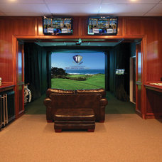 Traditional Basement A Man-Cave for Golfers