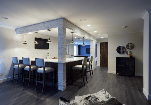 Transitional Basement by Interior Style by Marisa Moore