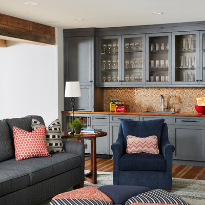 Example of a transitional basement design in Minneapolis
