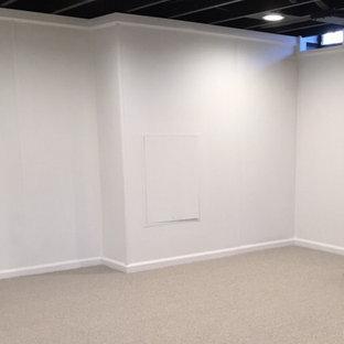 Cette image montre un petit sous-sol enterré avec un mur beige, moquette et un sol beige.