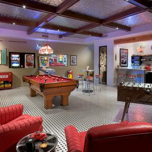 Immagine di una taverna chic interrata di medie dimensioni con pavimento con piastrelle in ceramica
