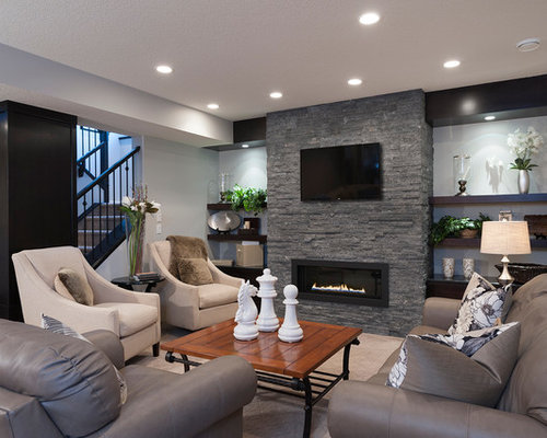 Exceptionnel Example Of A Transitional Underground Basement Design In Calgary With A  Ribbon Fireplace And A Stone