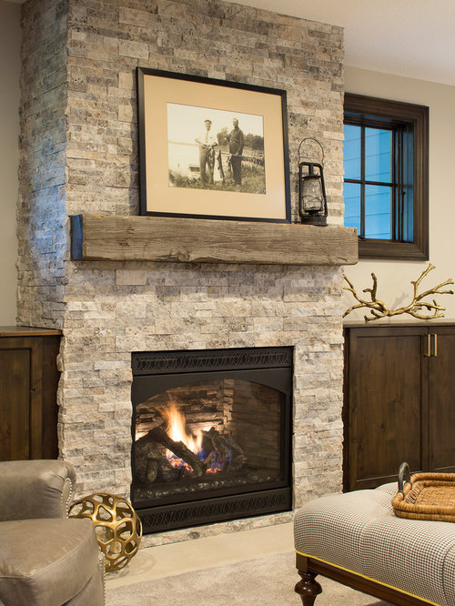 Best 25 Beach Style Basement With A Stone Fireplace