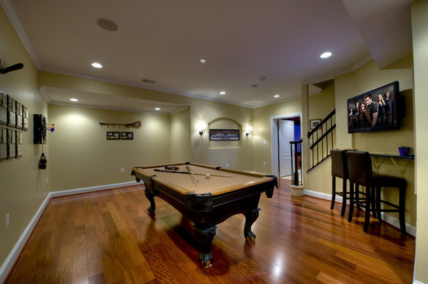 Contemporary Basement by Synergy Design & Construction
